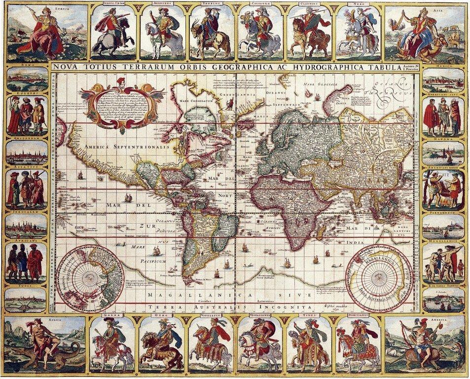 Три страны на карте мира